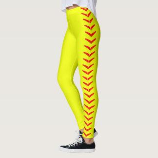 Calças amarelas brilhantes das caneleiras do leggings