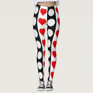 Calças brancas & vermelhas do preto do coração do leggings