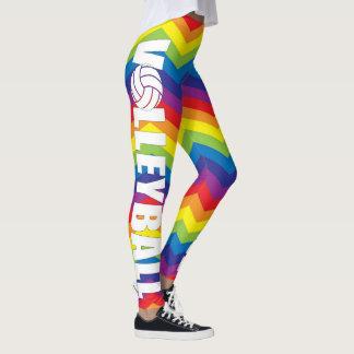Calças brilhantes da compressão do voleibol da cor leggings