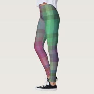Calças checkered da ioga do tartan das caneleiras leggings