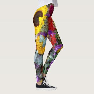 Calças florais da ioga das caneleiras do girassol leggings