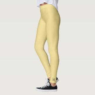 Calças lisas contínuas da ioga do monograma do leggings