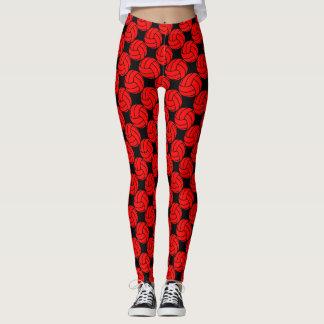 Calças vermelhas e pretas das caneleiras do leggings