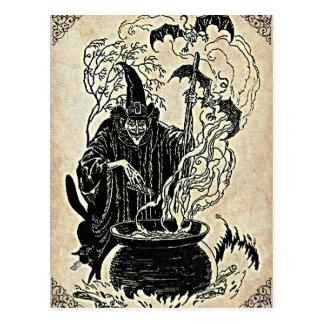 Caldeirão das bruxas do Dia das Bruxas Cartão Postal
