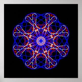 Caleidoscópio branco vermelho da arte abstracta do pôster