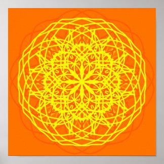Caleidoscópio da arte abstracta do amarelo pôster