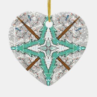 Caleidoscópio de árvores do inverno ornamento de cerâmica coração