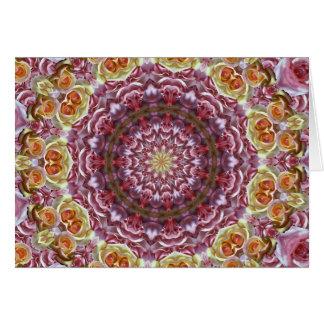 Caleidoscópio dos rosas cartão comemorativo