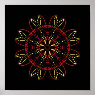 Caleidoscópio vermelho da arte abstracta do preto pôster