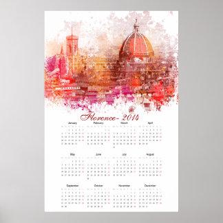 Calendário 2014 de Florença Posteres