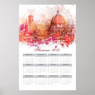 Calendário 2015 de Florença Pôsteres