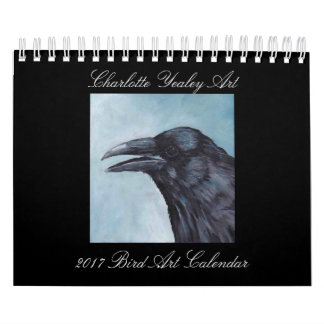 Calendário 2017 da arte do pássaro por Charlotte