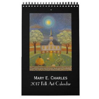Calendário 2017 da arte popular de Mary Charles