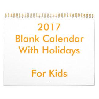 Calendário 2017 vazio com feriados para miúdos