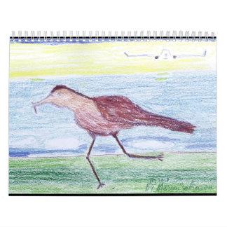 Calendário 2018 com o pássaro e o avião Running