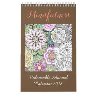 Calendário 2018 da coloração do Mindfulness