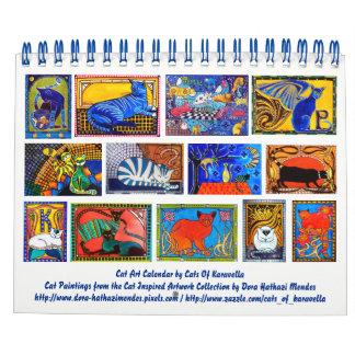 Calendário Calendário colorido 2018 da arte do gato para