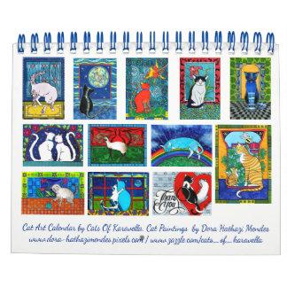 Calendário Calendário colorido da arte do gato por gatos de