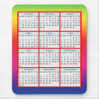 Calendário colorido do tapete do rato para 2016 mousepad