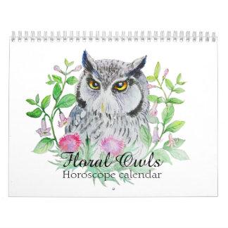 Calendário Corujas florais seu sinal do horóscopo da flor