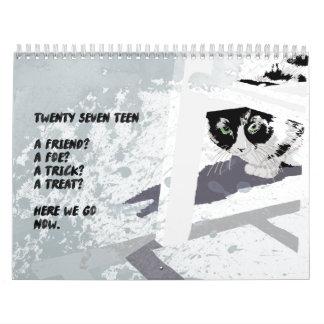 Calendário de parede da ilustração de 2017 animais