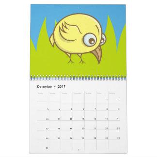 Calendário Desenhos animados amarelos do pássaro