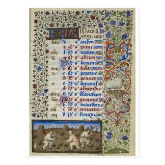 Calendário medieval: Março Cartão Postal