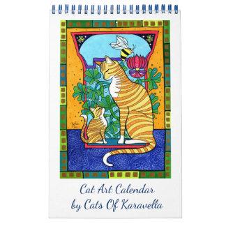 Calendário Calendário novo da arte do gato por gatos de