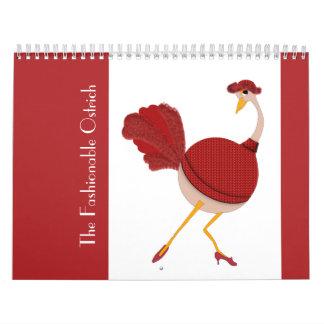 Calendário O modelo elegante da avestruz