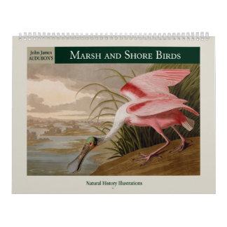 Calendário Pássaros 2018 de Audubon do pântano e de costa
