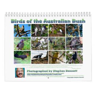 Calendário Pássaros de Bush australiano