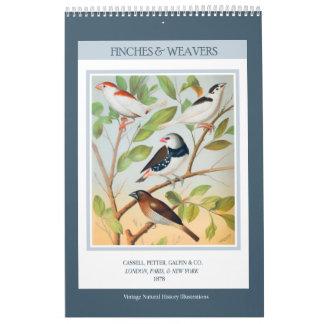 Calendário Pássaros do vintage - passarinhos e tecelões 2018
