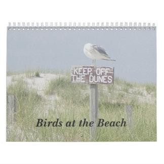 Calendário - pássaros na praia
