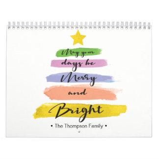 Calendário Personalizado, árvore de Natal da aguarela, foto