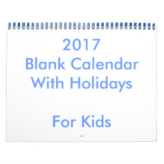 Calendário vazio do azul 2017 com feriados para