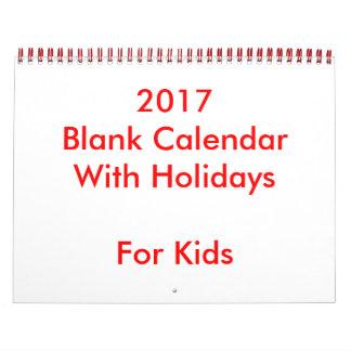 Calendário vazio do vermelho 2017 com feriados