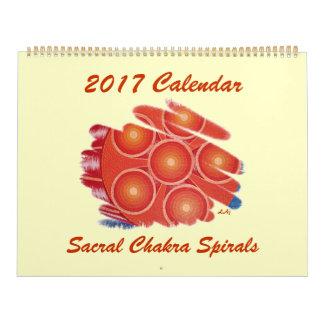 Calendário Vortex sacral alaranjado de Chakra de 2017