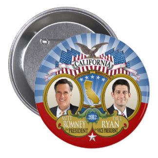Califórnia para Romney Ryan - foto dobro Bóton Redondo 7.62cm