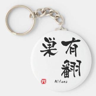 Caligrafia personalizada nome do Kanji de Alfons Chaveiros