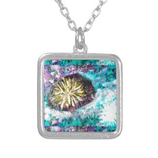 Cama de mar do abstrato do recife de corais de colar banhado a prata