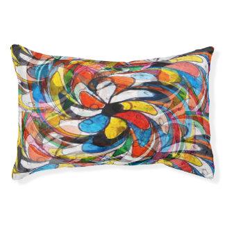 Cama Para Animais De Estimação Abstrato preliminar floral colorido