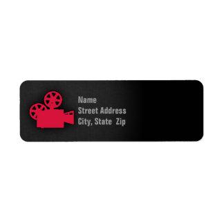 Câmera de filme do vermelho carmesim etiqueta endereço de retorno