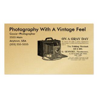 Câmera do vintage do fotógrafo cartao de visita