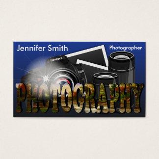 Câmera profissional do fotógrafo - azul cartão de visitas