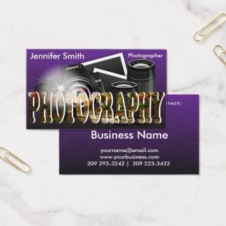 Câmera profissional do fotógrafo cartão de visitas