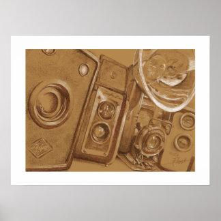 Câmeras do vintage - desenho de lápis no tom do Se Poster
