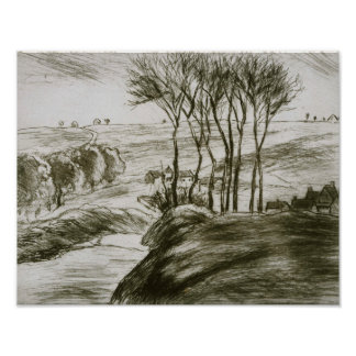 Camille Pissarro - paisagem perto de Osny (estado Poster