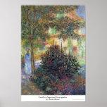 Camilo no jardim Claude Monet da casa de Argenteui Impressão