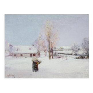 Caminhada através da neve cartão postal