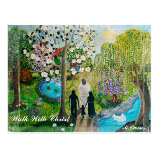 Caminhada com cartão do cristo cartão postal